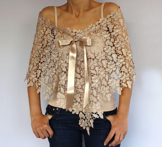 Ecru Beige Lace Capelet: Bridal Top Wear Shrug. Handmade. Unique Design. $44.00, via Etsy.