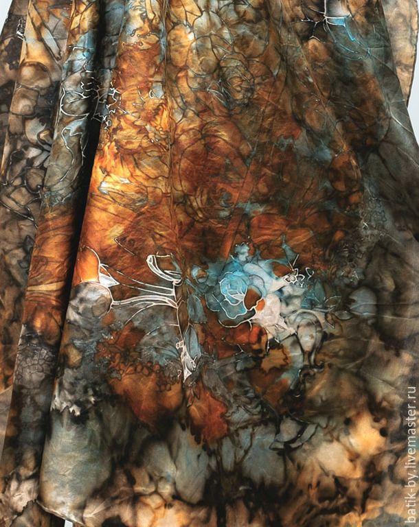 Купить «Голубая Роза» платок батик шелк 100% - голубой, медь, бирюза, винтаж, бохо