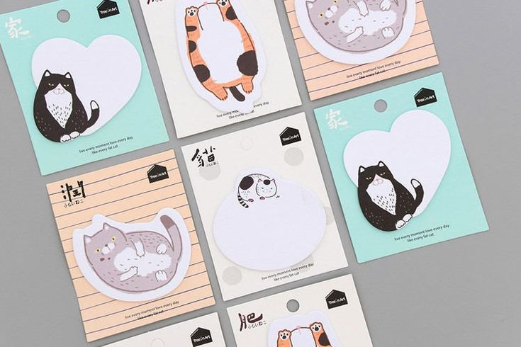 Kawaii Cat Sticky Note, Notepads, Memo Pads, Reminder Notes, Memo Pad Stickers by GinkoSupplies on Etsy