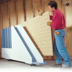Garage Storage Projects: Plywood Rack  A handy storage rack that lets you get at the plywood sheet you need!