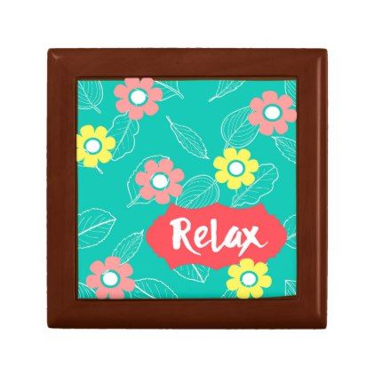 Teal Coral Pink Relax Spring Floral Keepsake Box - spring gifts beautiful diy spring time new year