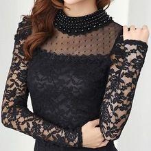 Új divat női pólók Tavaszi állvány Pearl nyakörv Csipke horgolt blúz ing hosszú ujjú szexi felsők fekete / fehér Plus siz (Kína (szárazföld))