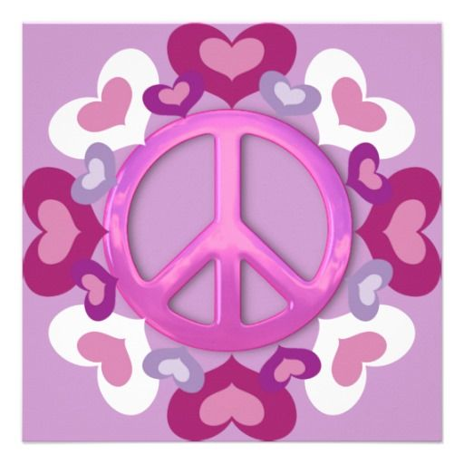 images of pretty hearts | Pretty Pink Peace Sign and Hearts Invitations from Zazzle.com