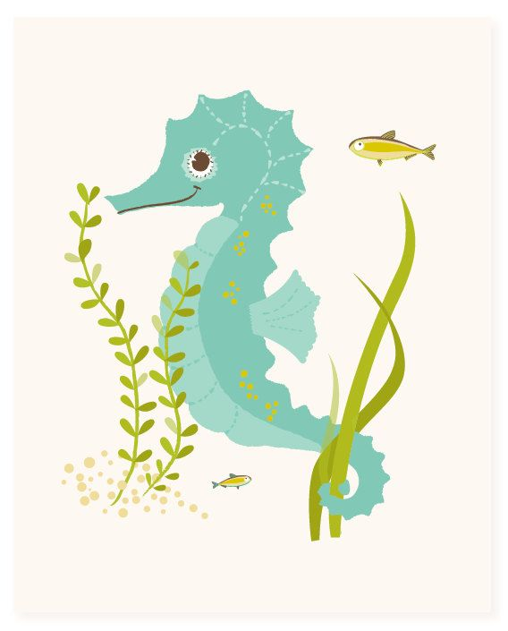 Seahorse - art print - nursery art for children via Etsy