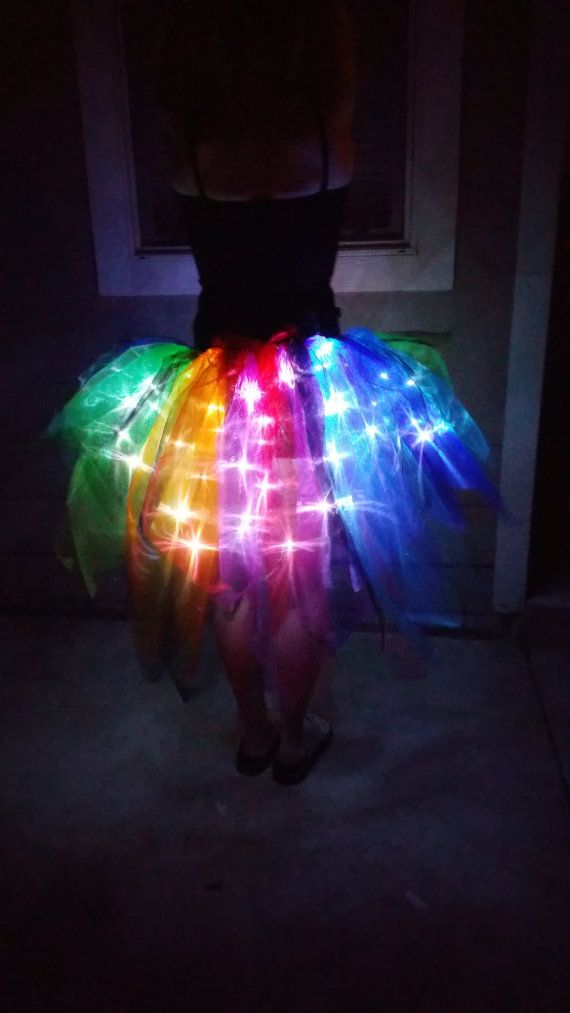 Light Up Rainbow and Black Tapered Bustle Tutu by BoulderTuTus