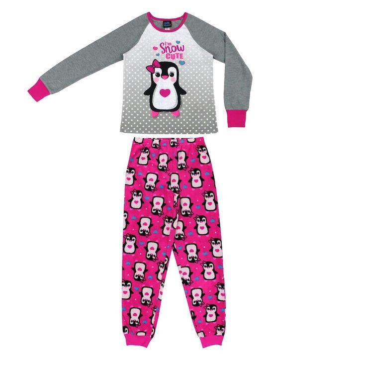 Girls 4-16 Jellifish 2-pc. Penguin Graphic Pajama Set, Size: 10-12, Med Grey