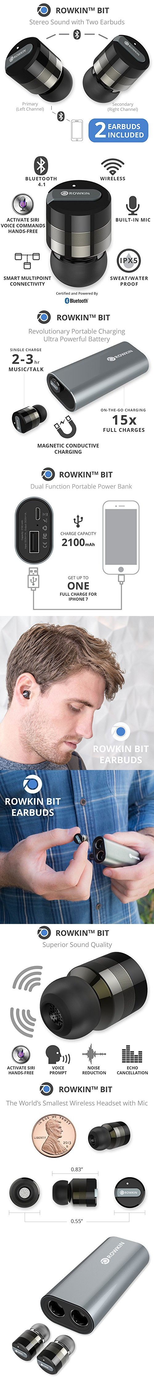 Rowkin Bit Charge: Stereo Wireless Headphones with Portable Charger. Bluetooth Earbuds, Smallest Cordless Hands-free Mini Earphones Headset w/ Mic & Noise Reduction for Running and iPhone (Space Gray)