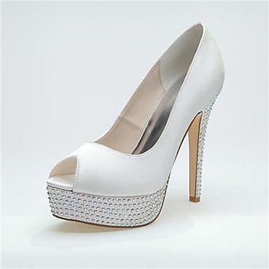 bombas plataforma peep toe stiletto calcanhar de cetim de sapatos mulheres com sapatos de casamento rhinestone mais cores disponíveis - EUR € 32.99