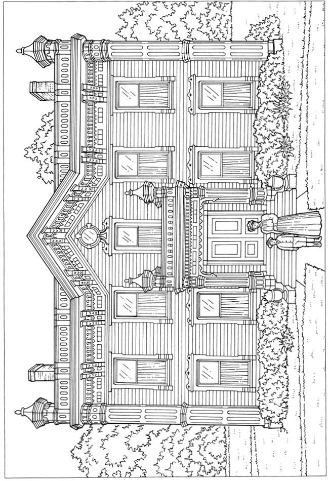 92 Coloring Pages For Adults Architecture