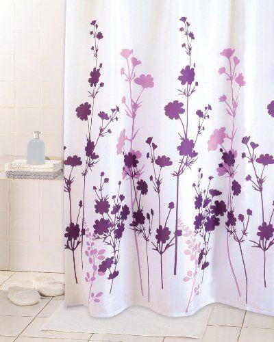 "Textil Duschvorhang 180 x 200 cm Motiv "" Vitality "" Blumen lila purple weiss"