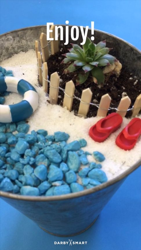 Bring the Beach Vibes In with this DIY Fairy Garden. More DIY Ideas on the Darby App