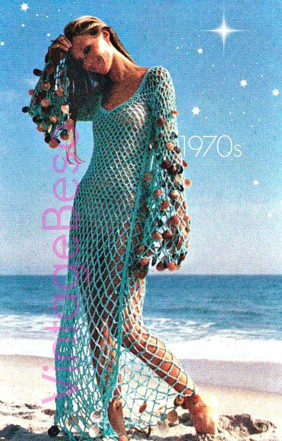 Vintage CROCHET PDF Pattern ❤️ Pattern in U.S.A. terms  ♥¸.•`•¸.•*♥ INSTANT DOWNLOAD: download directly from your Etsy account, once payment is approved.  TO MAKE: Retro 1970s Coverup Beach Dress - Vintage Sexy Beach Mesh Dress - Sea Goddess Dress - Beach Coverup Maxi Dress - Beach Dress...Swimsuit Cover-Up or WEDDING DRESS....You will decide .... no matter what, that day at the beach or pool might just lead to a wedding...or one very hot ...event...resulting in lots of fab memories! Sup...