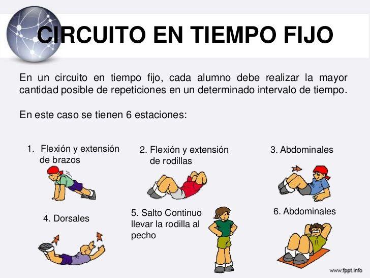 ejercicio de circuito de 6 estaciones educacion fisica