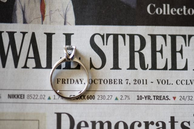 newspaper and ring wedding date photo