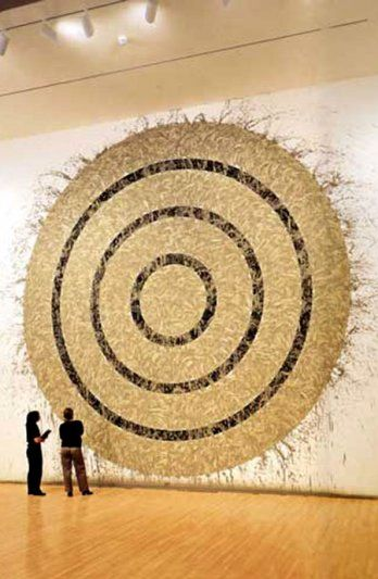 Richard Long, most famous for his Land Art, sculpture on a large scale literally made in and/ or from the land. This is one of his more gallery friendly pieces called 'Walking and Marking'