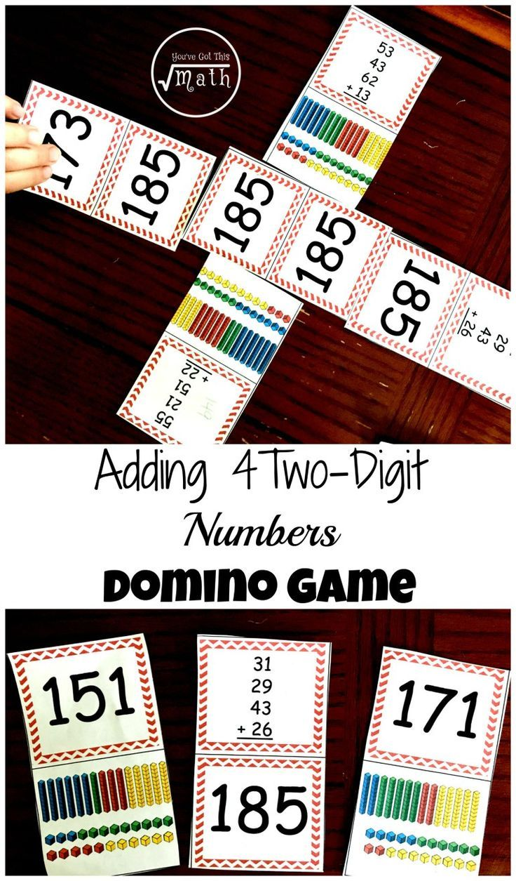 This game has children adding four two-digit numbers. Place value work is added with base ten blocks. $