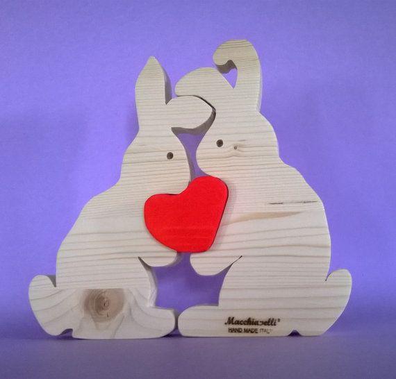 Puzzle animali conigli in legno puzzle in legno puzzle cuore innamorati san valentino regalo coppia conigli innamorati (Cod. PUZ005)