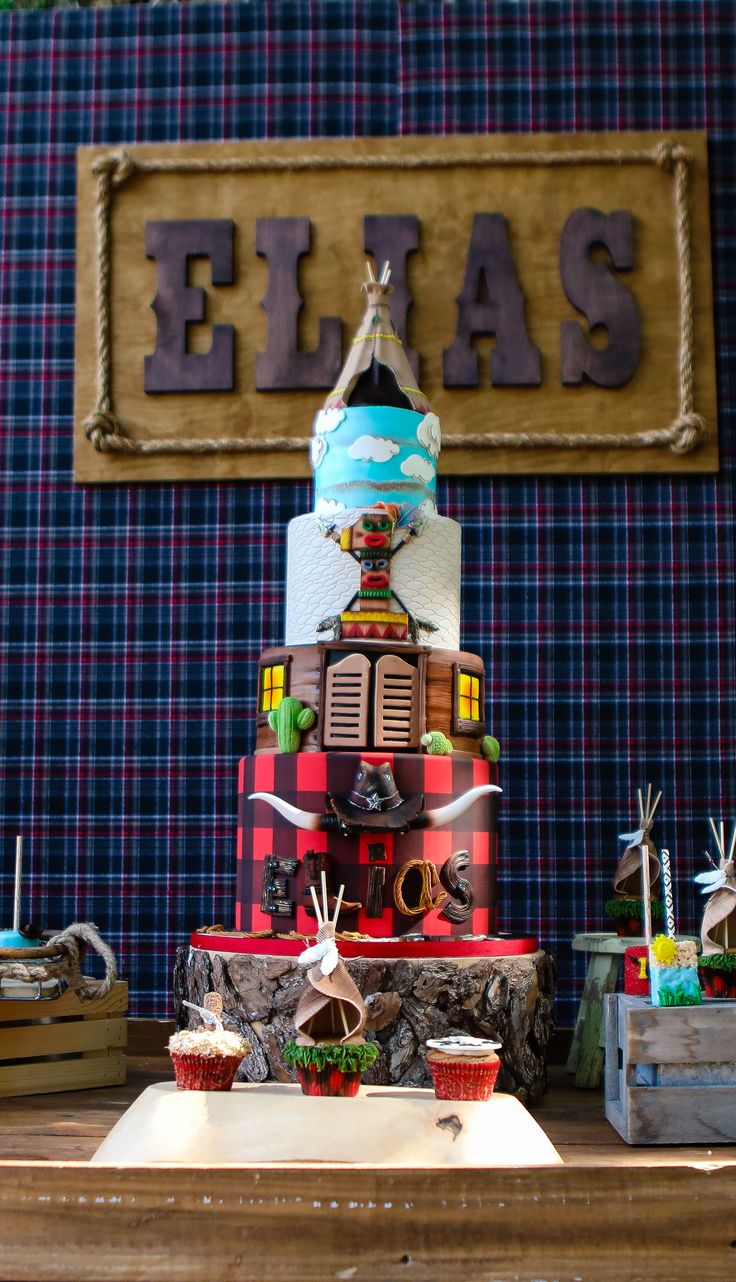 """Elias's 'Cowboys and Indians"""" cake. Follow the link to see more of this super cool 1st birthday party."""