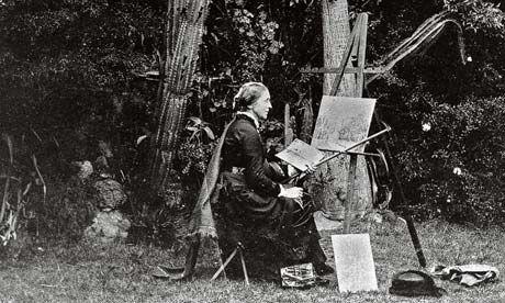 La artista y viajera Marianne North pintando al aire libre