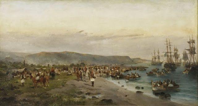 Κωνσταντίνος Βολανάκης: Ο ζωγράφος της θάλασσας! | synoro news-Απόβαση του Καραίσκάκη στο Φάληρο (1895)