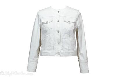 GAP White Collarless Denim Jacket Size S at http://stylemaiden.com