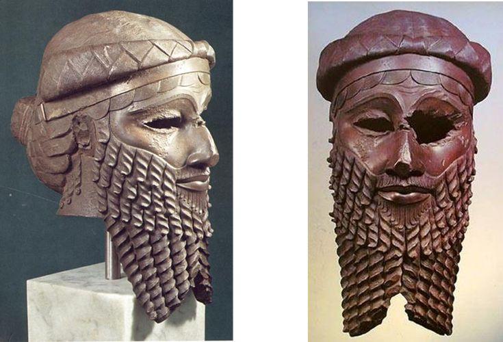Máscara de Sargón I de Akad, el considerador como primer emperador de la historia y conquistador de Mesopotamia en el III Milenio Antes de Cristo. Museo de Baghdad, Irak.