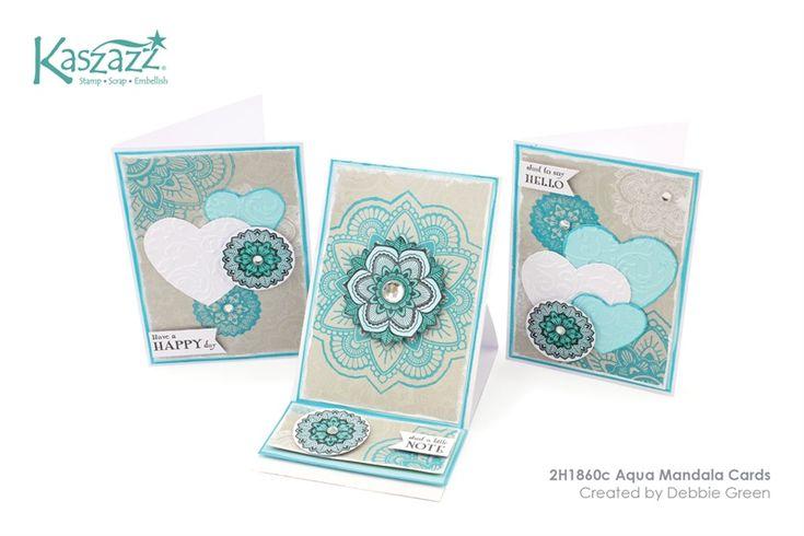 2H1860c Aqua Mandala Cards