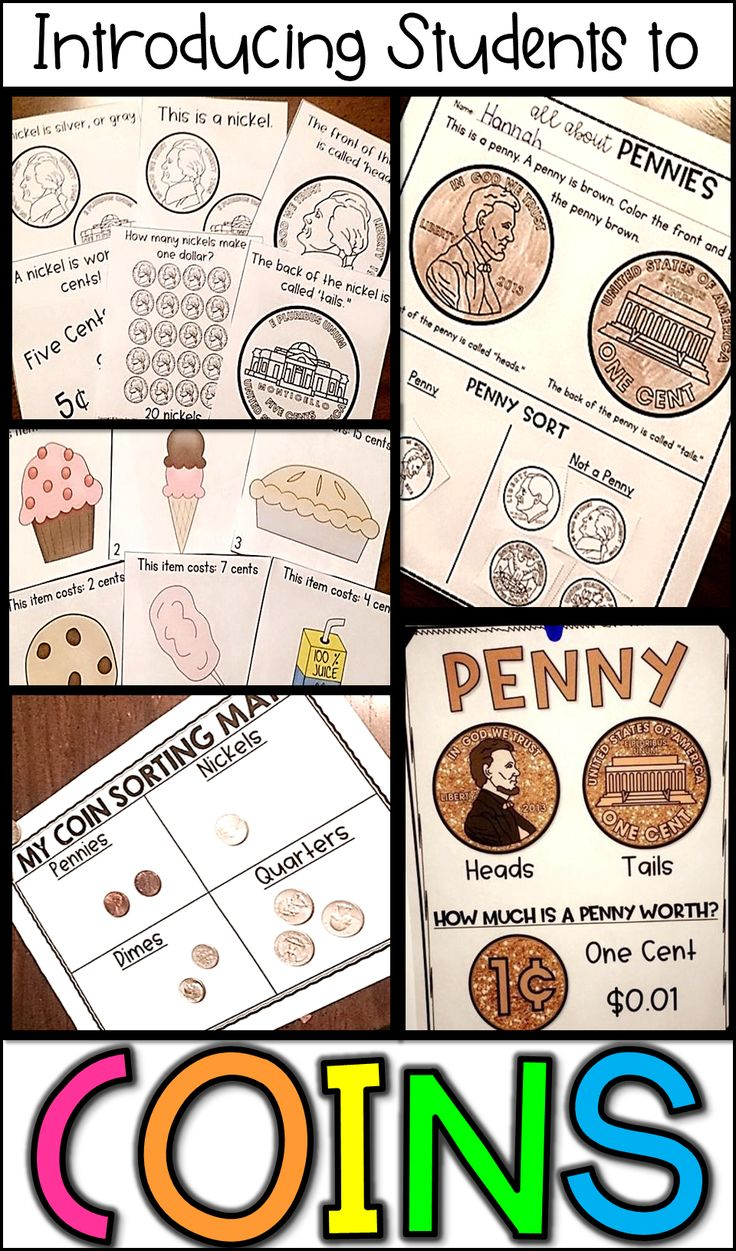 Money math centers, activities, posters, and lesson ideas for introducing coins to kids!