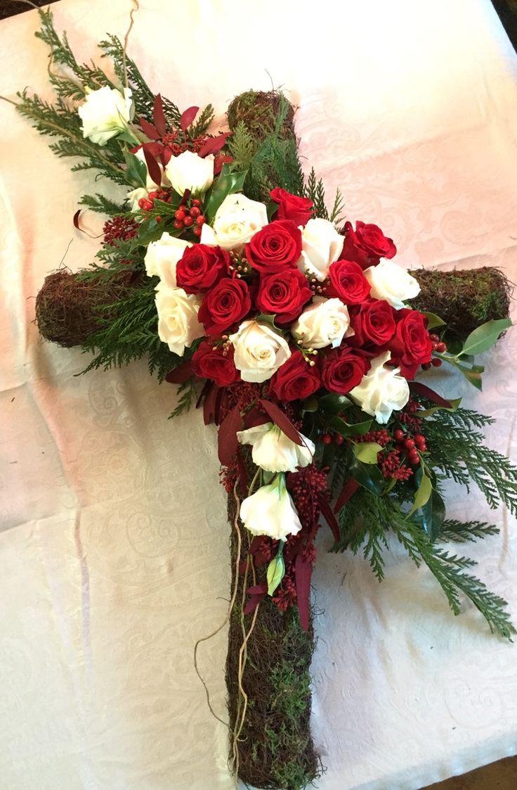 The 72 best grave flowers images on pinterest grave flowers funeral cross floral arrangement by the loverose floral instagramtheloverosefloral izmirmasajfo