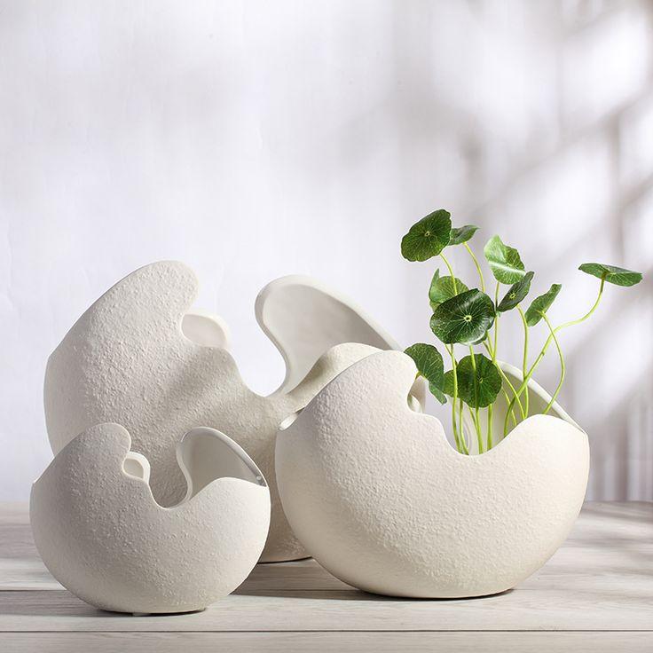 Керамическая ваза Белый яичной скорлупы стиль цветочный горшок украшения дома Рождественский подарок 1 шт.
