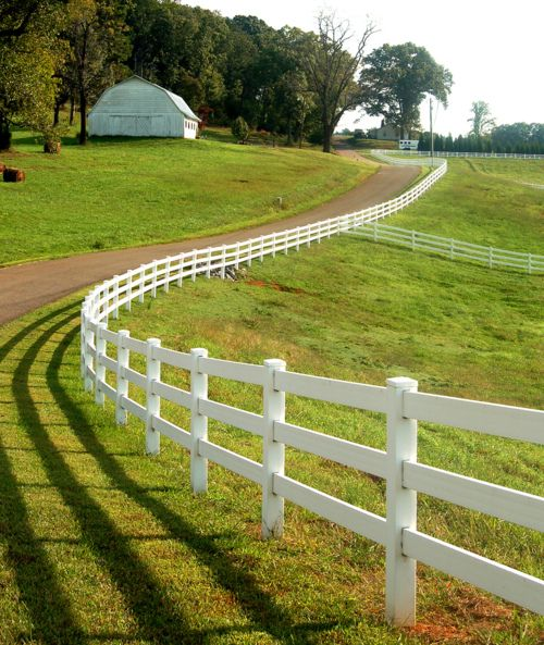 I have always wanted a white fence like this on my dream farm! One day I will have it.