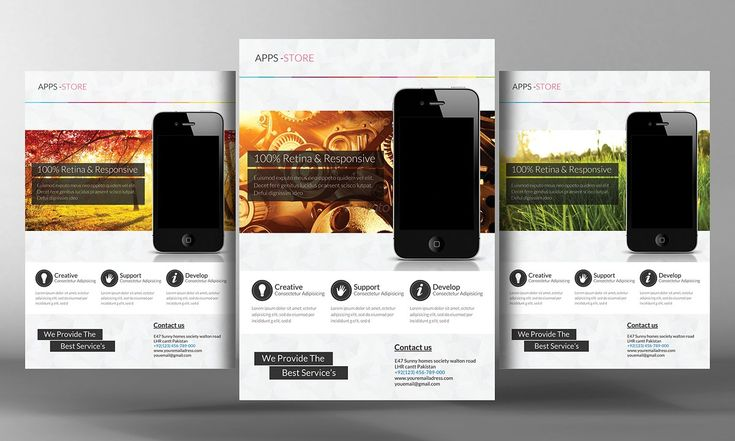 Mobile Apps Promotion Flyer Template by Business Templates on @creativemarket