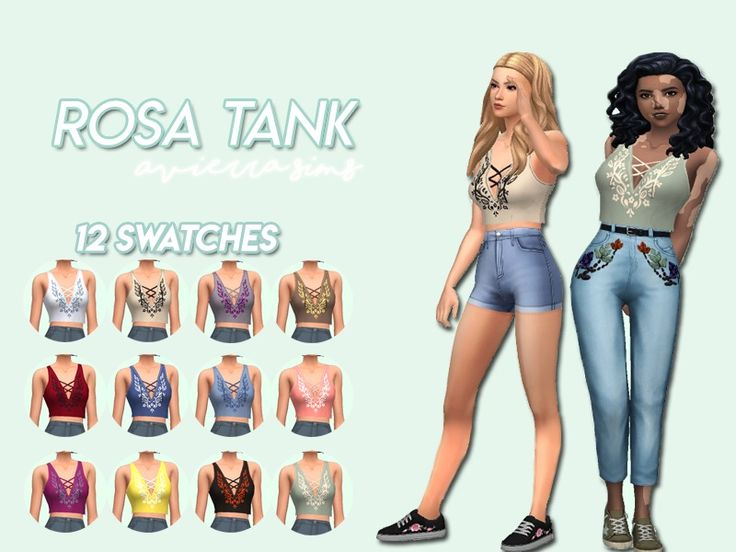 Tank top with 12 swatches Found in TSR Category 'Sims 4 Female Everyday'