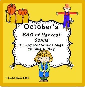 ***$3.00*** This product contains the following: • 8 original BAG songs to Sing and Play o October themed: Fall, Harvest, Raking and Jumping in multi-colored leaves, Cool weather, World Series, Pumpkin patch, Christopher Columbus, 1492, Nina, Pinta, Santa Maria • Each song is made up of 8 measures of 4/4 Time Signature • Each song contains easy lyrics • Student Copy of 8 songs • Teacher