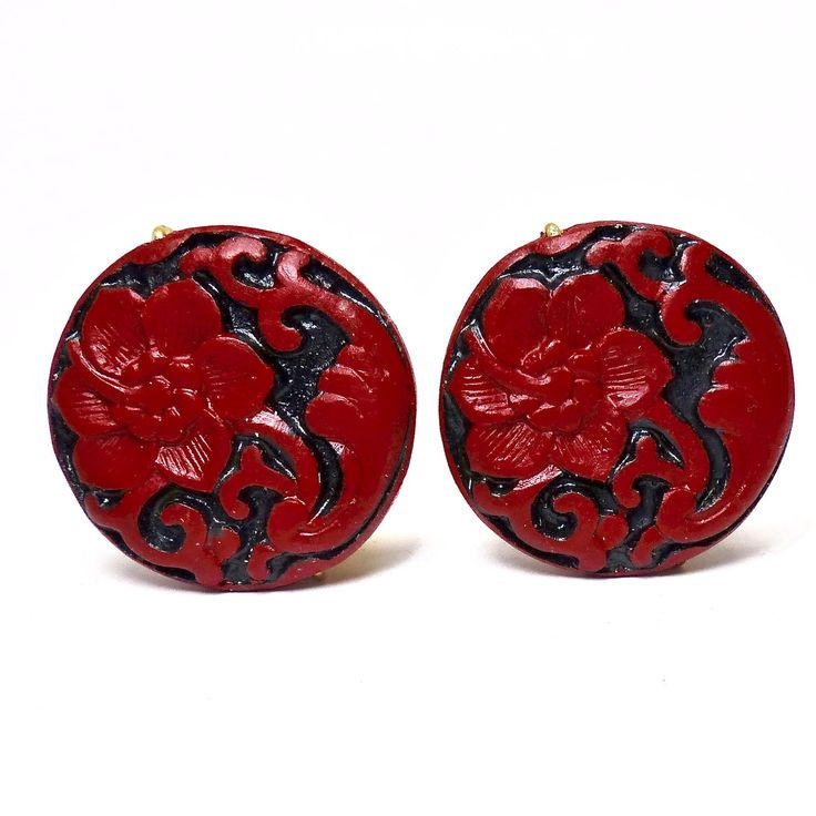 Red and Black Cinnabar Flower Button Earrings
