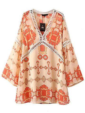 Women Vintage Floral Print Horn Sleeve Loose V-neck Mini Dress