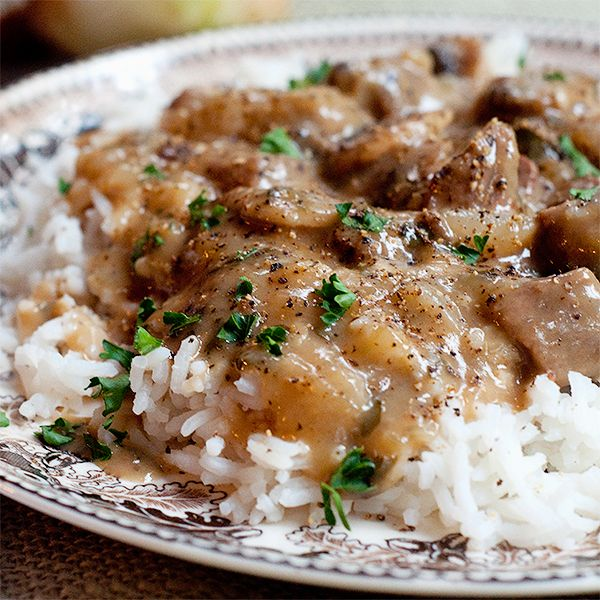 Creamy Steak and Mushrooms - steak tips in a creamy mushroom sauce served over rice. Quick and easy family dinner! From @NevrEnoughThyme http://www.lanascooking.com/creamy-steak-and-mushrooms
