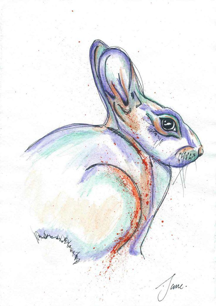 Bunny, Water Colour Pencil, By Jane Burton