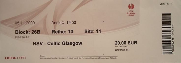 TICKET UEL 2009/10 Hamburger SV vs Celtic FC
