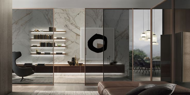 Velaria sliding doors with bronzo spazzolato finishings