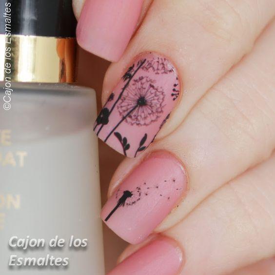 Dandelion nail art Uñas con diente de leon - Tatuajes de agua o decals
