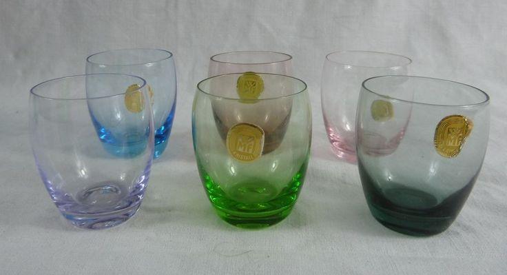 6 farbige Schnapspinchen / Stamperl. WMF Kristall. 50er Jahre. in Antiquitäten & Kunst, Glas & Kristall, Sammlerglas | eBay