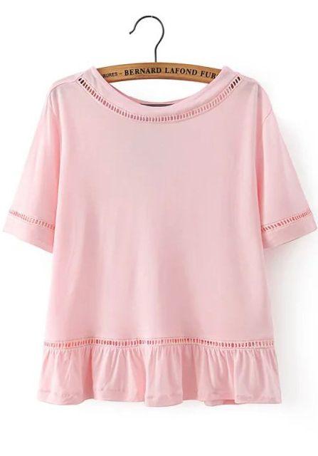 Buy Peplum Hem Hollow Pink T-shirt from abaday.com, FREE shipping Worldwide - Fashion Clothing, Latest Street Fashion At Abaday.com