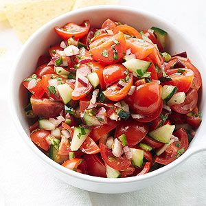 Cherry Tomato and  Cucumber Pico De Gallo From Better Homes and Gardens, and Joanne Weir, August 2014.  Nice fresh flavor. Not your typical Pico. Great way to use summer vegetables.