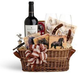 horse gift baskets | Black Stallion Horse-themed Gift Basket