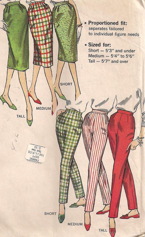 Vintage 1950s - Pencil Skirt/Cigarette Pants In Proportional Sizes - Simplicity 3257 - 30W