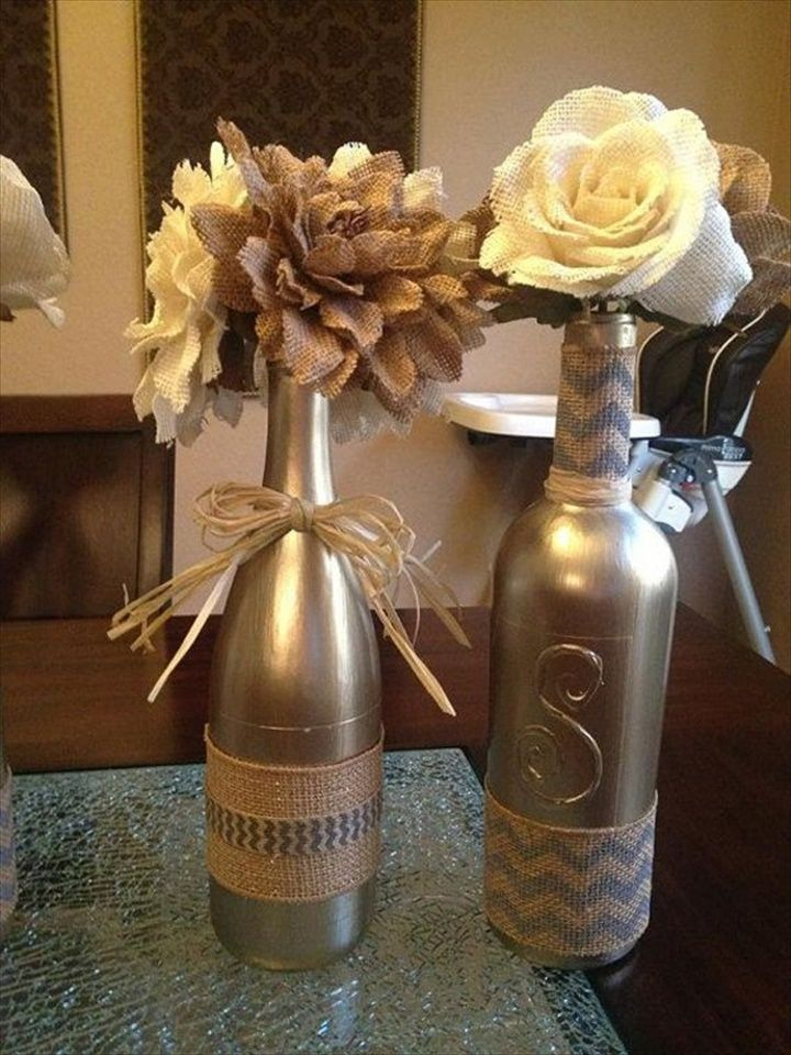 Wine Bottles For Any Table- 32 DIY Beautiful Flower Arrangement Ideas   DIY to Make
