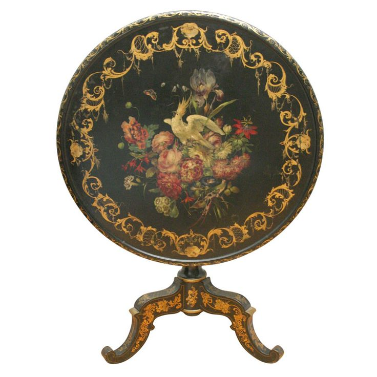 English Mid 19th Century Floral Painted Papier Mache Tea Table