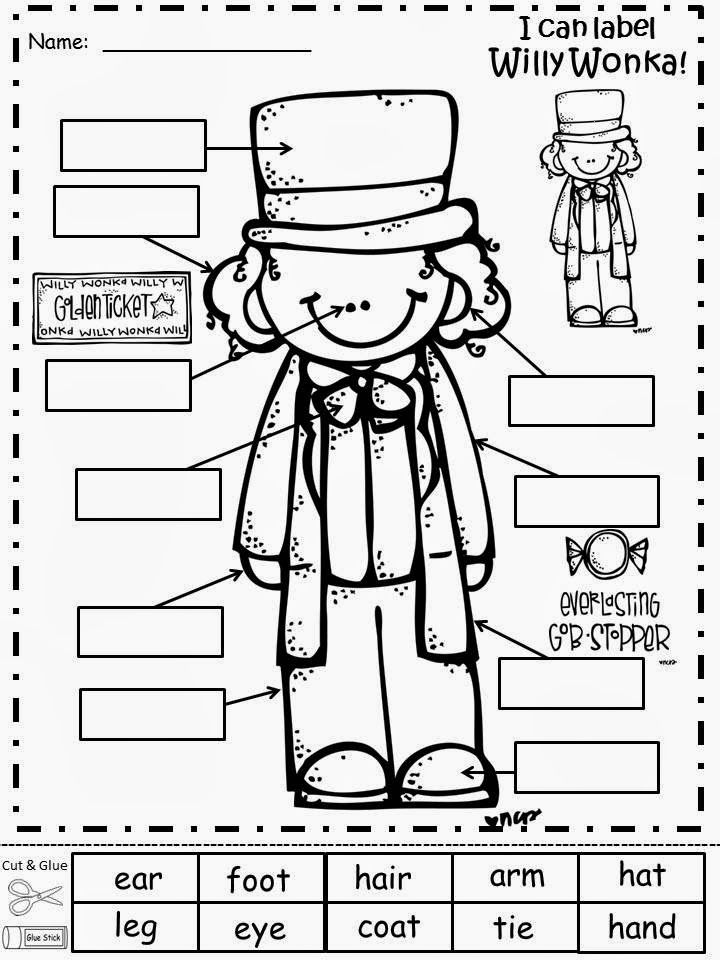 willy wonka coloring pages - free willy wonka labeling sheet freebie for a teacher