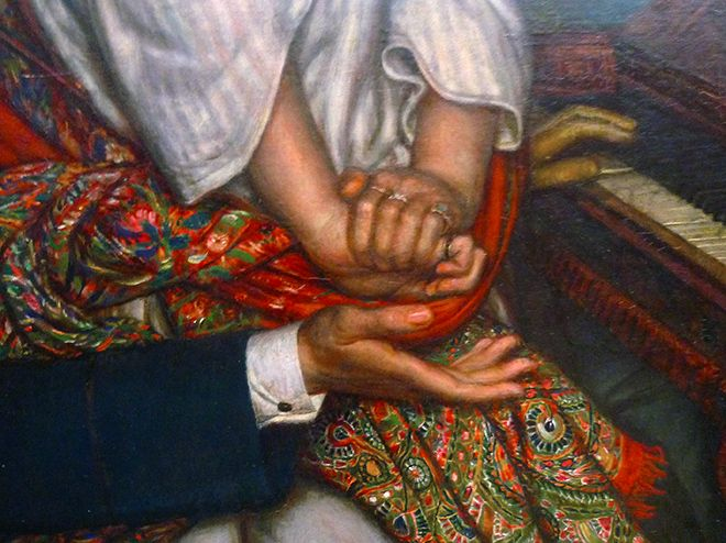 William Holman Hunt, The Awakening Conscience, detail with hands